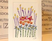 "Garden Birthday Cake Original Watercolor Art  Panel Card 4.5"" x 6.25"" Offwhite Cream Card & Envelope"