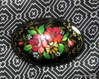 Hand Painted Russian Pin or Brooch Flowers Oval Black Gold Trim Hand Painted Wooden Signed