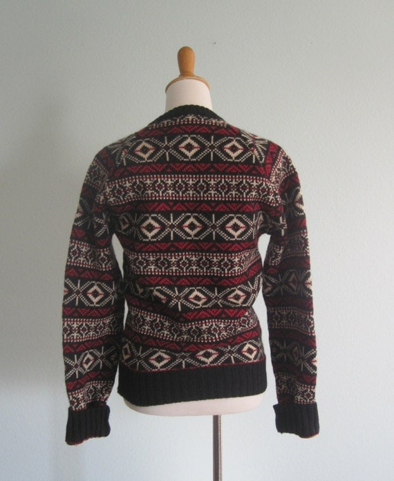 Calvin Klein Sweater Cozy 80s Red and Black Fair Isle