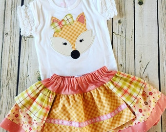 Girl's Fall Fox Skirt and Shirt Set-From the Fall 2016 Collection by Mellon Monkeys