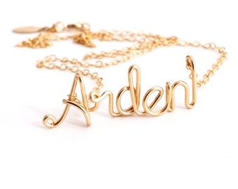 Personalized Gold Word Necklace. Custom Gold Name Necklace. 14k Gold Filled Name Necklace