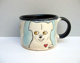 Dog Mug, Small, Blue and White Dog and Squirrel Mug, Small Ceramic Coffee Mug or Tea Mug, Animal Pottery