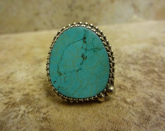 Sterling Silver Turquoise Ring - Size 9