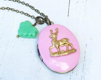 DEER Locket Necklace Colorful Autumn Woodland Deer Pink Mint Green
