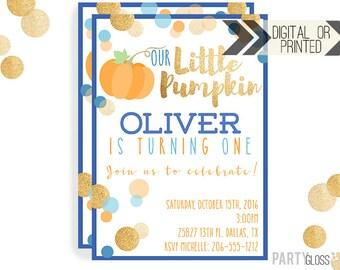 Pumpkin Invitation   Digital or Printed   Pumpkin Party   Glitter Pumpkin Invite   Boy Pumpkin   Gold Glitter Invitation   Little Pumpkin