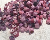 Purple Pink Millefiori Murrini, coe 104, 1 oz, Genuine Italian Glass Slices, Best Quality 28 grams