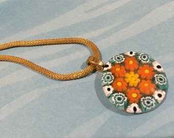 Millefiori Italian Glass Flowers Pendant: Orange, Teal and White