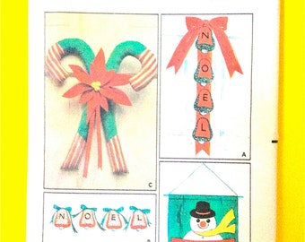 1960s Butterick 6720 Christmas Decor, Transfers Santa, Snowman, Noel, Candy Cane Door and wall hangings, Decorations Vintage Sewing Pattern