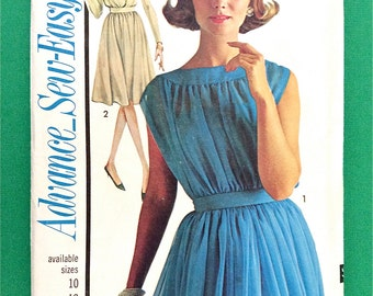 Uncut 50s Sewing Pattern Advance 3317 Vintage 1960s Sew-Easy Dress Sewing Pattern Cocktail Dress