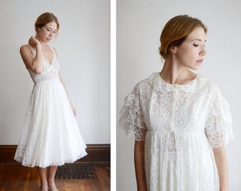 1950s Lace Bridal Peignoir and Nightgown Set - M
