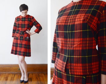 1950s/1960s Red Tartan Plaid Skirt and Blouse Set - S