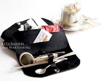 Black Leather Tea Wallet