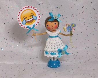 Happy Tears of Joy - Clothespin Doll with Emoji tag