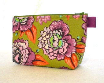 Tula Pink Fabric Large Cosmetic Bag Zipper Pouch Padded Makeup Bag Cotton Zip Pouch Elizabeth Astraea Floral Purple Olive Salmon Orange MTO