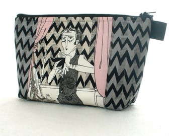 Ghastlies Fabric Large Cosmetic Bag Zipper Pouch Padded Makeup Bag Cotton Zip Pouch Alexander Henry Garrick Ghastlie Gray Halloween GGS