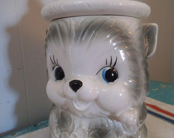 Vintage Grey and White Cat Kitten Cookie Jar with Red Pom-Pom Hat Lid ~ Flowers ~ 1960's Japan