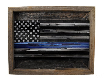 SMALL Thin Blue Line Flag- rustic framed art- made from recycled magazines, patriotic, America, our country, USA, American, United States
