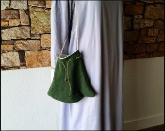 Medieval Drawstring Purse of Green Linen