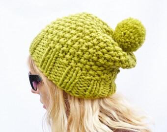 Chunky Knit Wool Bobble Hat - Apple Green