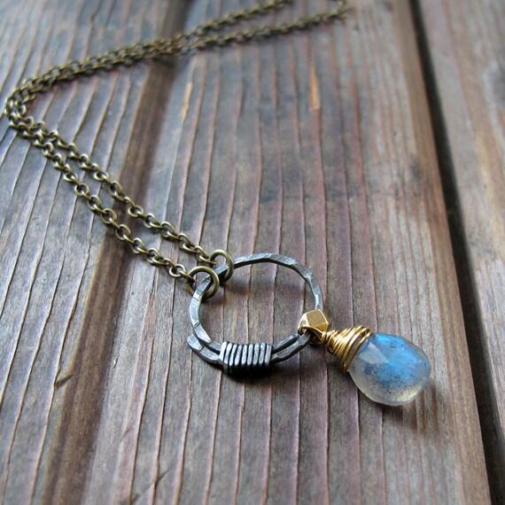 Full Circle Necklace - Labradorite Blue Stone Necklace - Rustic Circle Necklace
