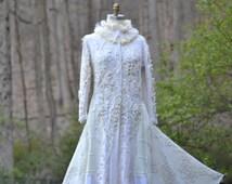White Wedding sweater COAT.  Boho Eco couture. Size XLarge. Ready to ship