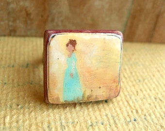 Hand Painted Adjustable Ring - Lady in Baby Blue - Nickel Free.