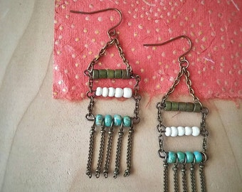 Boho Ladder Dangle Earrings Statement Long Multi-color Beaded -  El Dorado.