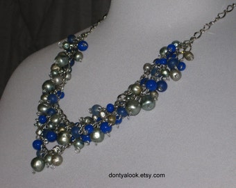 Blue and Silver Beaded Pearl Cluster Necklace