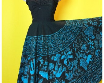 Vintage 1950s Strapless Mexican Sequined Full Circle Skirt Dress