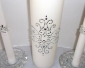 Silver damask ivory unity candle with tapers