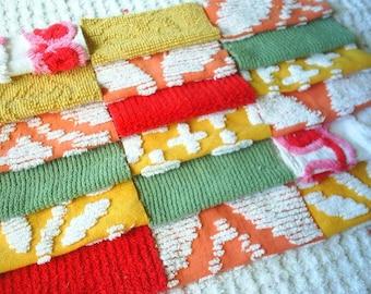 Vintage Chenille Bedspread Squares-Autumn Colors