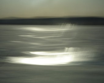 """Abstract landscape photography black winter lake surreal dark nature - """"Smoke on the water"""" 8 x 10"""