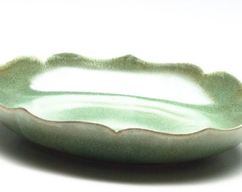 Golden Green Lotus Bowl / Ceramic Bowl