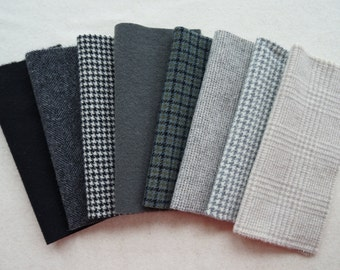 Black, Grey, and Natural Neutral Felted Wool Fabric Number 4621