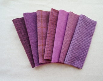 Wild Orchid - Red-Violet - Purple Hand Dyed and Felted Wool Fabric - Primitive Rug Hooking, Quilting, Wool Applique by Quilting Acres