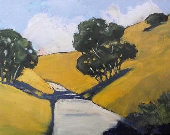 Impressionist California Santa Maria Hills & Oak Trees Plein Air Landscape Oil Painting Original Art Lynne French 12x16