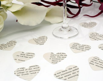 Harry Potter book Paper heart wedding confetti- 200 recycled die cut punched hearts 3.5cm by 3cm- Great romantic Valentines table decoration