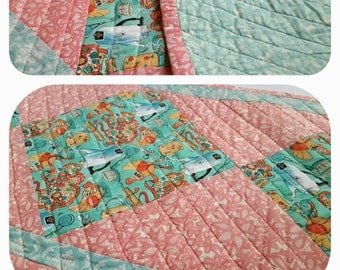 Table Runner, Pink and Teal Table Runner, Kitchen Tablecloth, Quilted Placemats, Quilted Table Runner, Table Quilt, Quilt, Quiltsy Handmade