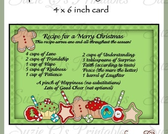Recipe for a Merry Christmas Card Front - Digital Printable - Immediate Download