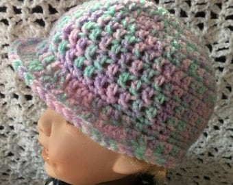 Multi color baby hat with brim
