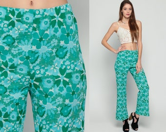 70s Bell Bottom Pants Floral Pants Hippie Trousers High Waisted Boho Flared Festival Bohemian Seventies Green Blue Aqua Small