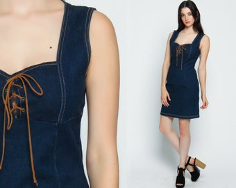 DENIM Dress 90s Mini Jean Grunge BABYDOLL Lace Up CORSET Vintage 1990s Empire Waist Sleeveless Dark Blue Sweetheart Neckline Small Medium