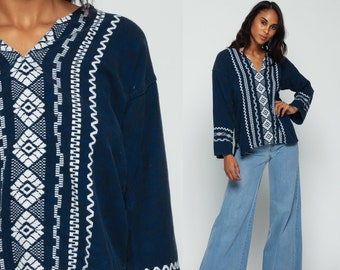 Mexican Embroidered Blouse Navy Tunic Top COTTON Ethnic Shirt 70s Hippie Dashiki Tribal Boho Long Sleeve 1970s AZTEC Bohemian medium Large