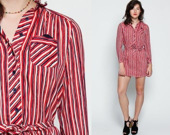 Button Up Dress 70s Shirtdress Mini Striped Print Secretary Mod Long Sleeve Navy Blue Red White 80s Vintage Belted Preppy Shift Medium