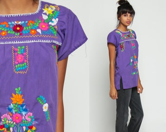 Mexican Shirt Ethnic Blouse EMBROIDERED Top Hippie Boho FESTIVAL Purple Cotton Tunic Bohemian Floral Vintage Ethnic Smock Extra Small xs