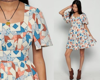 70s Mini Dress PATCHWORK Print QUILTED Bohemian Babydoll 60s 1970s Boho Flutter Sleeve Festival Vintage Empire Waist Blue Large