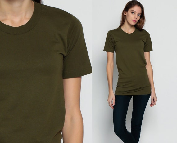 army green shirt grunge tshirt 80s t shirt olive green top