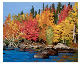Fall Colors, NH, Framed Original Painting, Acrylic on Canvas 16x20