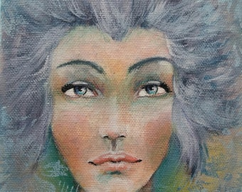 Original Mixed Media Fantasy Girl Painting By Sujati Art Studio