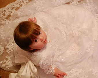 Monica Rose ivory Christening gown set by Angela West Handcrafted Heirloom gown set